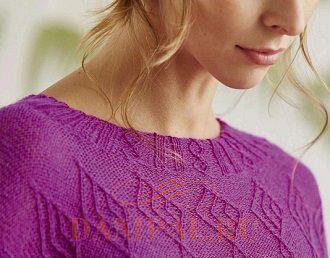 тонкий пуловер спицами