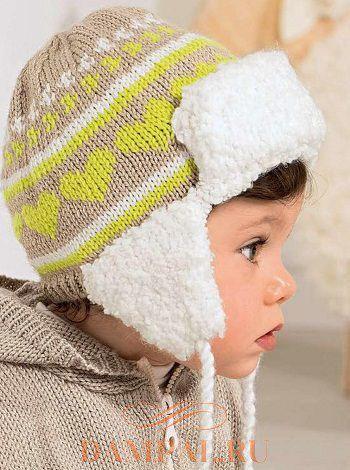 шапка с ушками спицами для мальчика