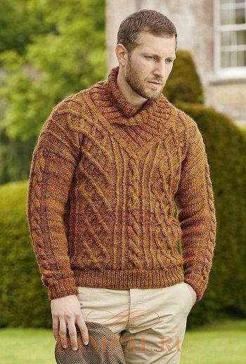 свитер мужской вязаный спицами
