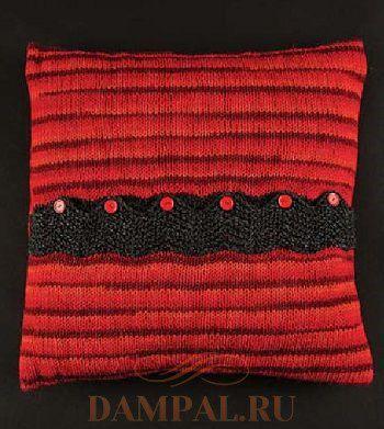 вязаная подушка спицами
