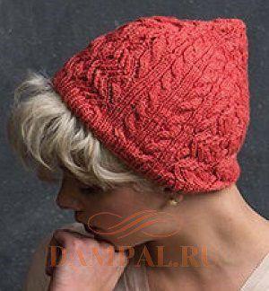весенняя вязаная шапка спицами