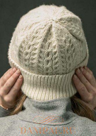 теплая шапка спицами