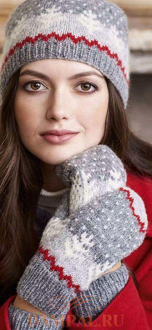 зимние шапка и варежки
