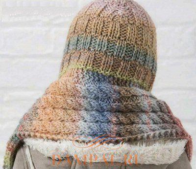 вязаный шарф-капюшон