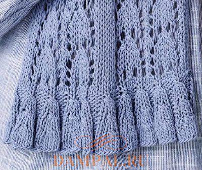 вязаный ажурный шарф