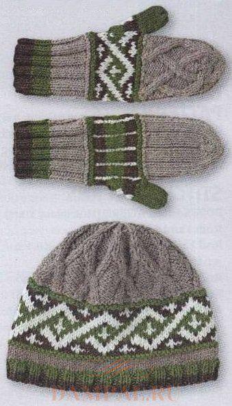 вязаные шапка и варежки